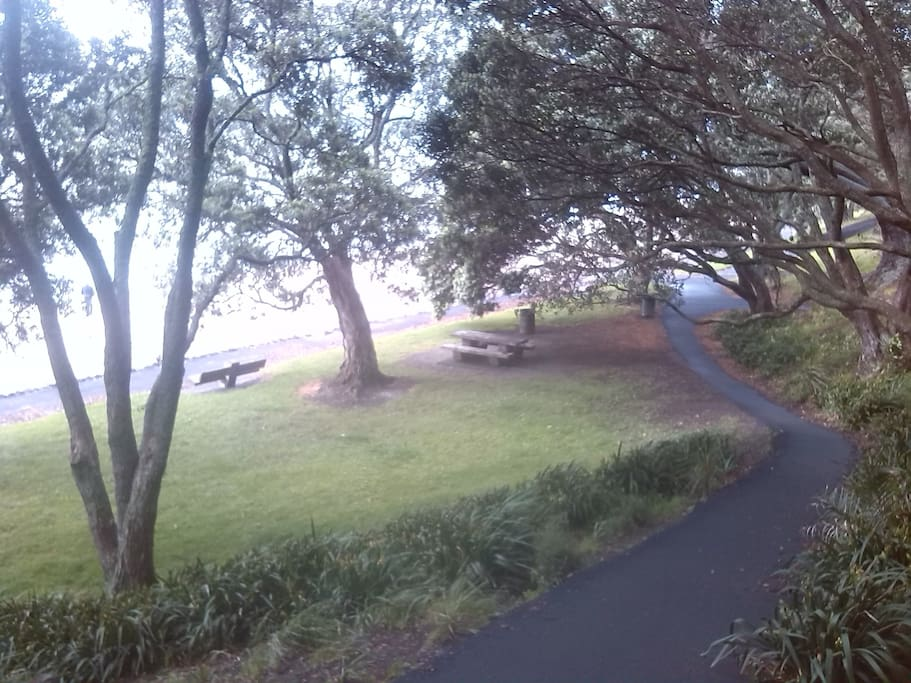 Path right outside leading down to a safe, child friendly beach