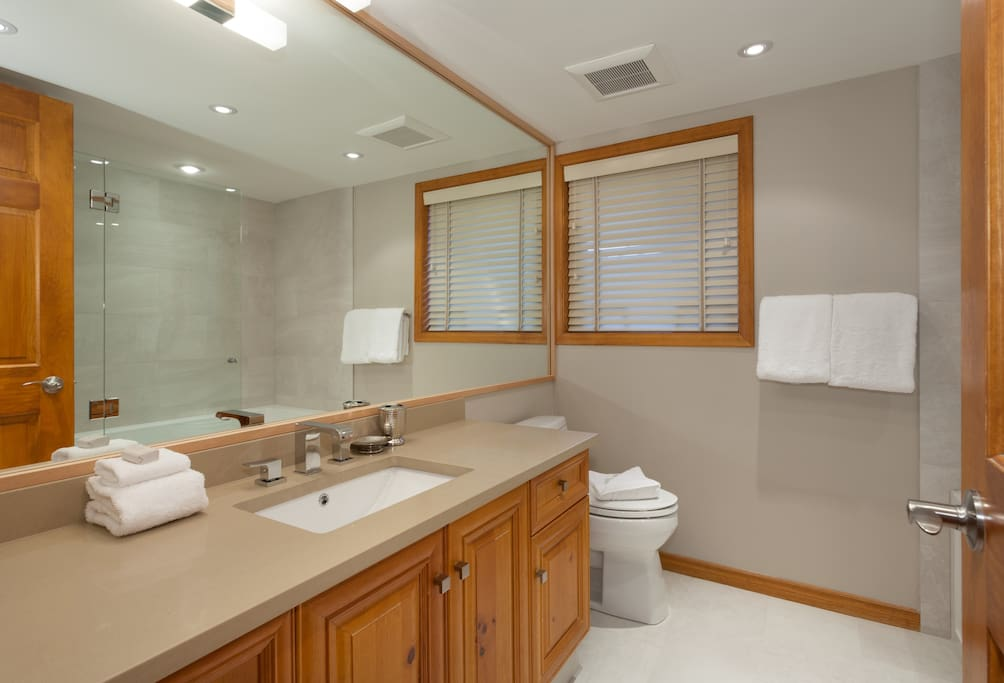 Modern bathroom with bathtub and overhead shower.