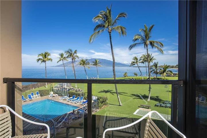 Ocean front views take you across the Pacific in this 1 bedroom Condo at Kihei Surfside #307