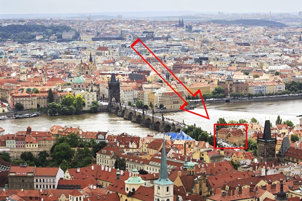 Location of the apartment - facing Charles Bridge