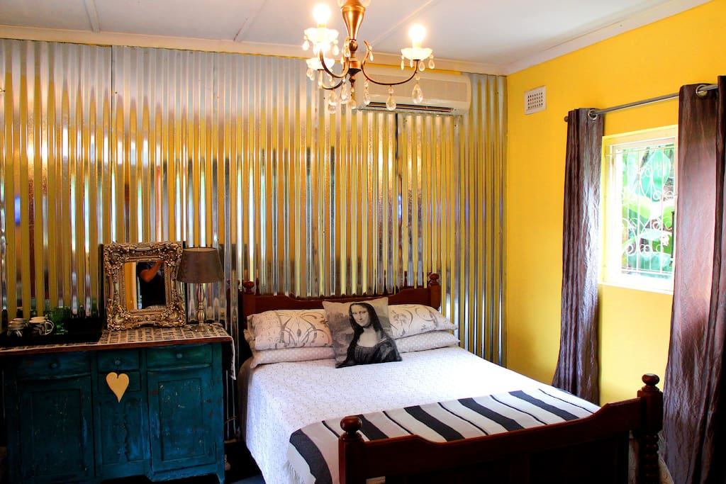 Yellow Room old style antique bed and furniture