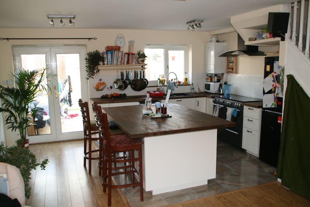 Arrive in lounge/open plan kitchen.  It's a large kitchen area with all mod cons