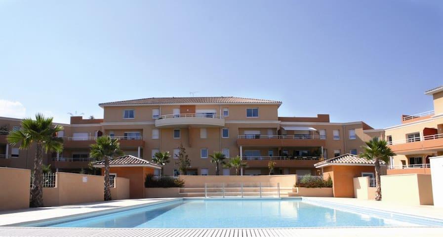 76m2 1-6 pers terrass pisc clim mer - Béziers - Wohnung