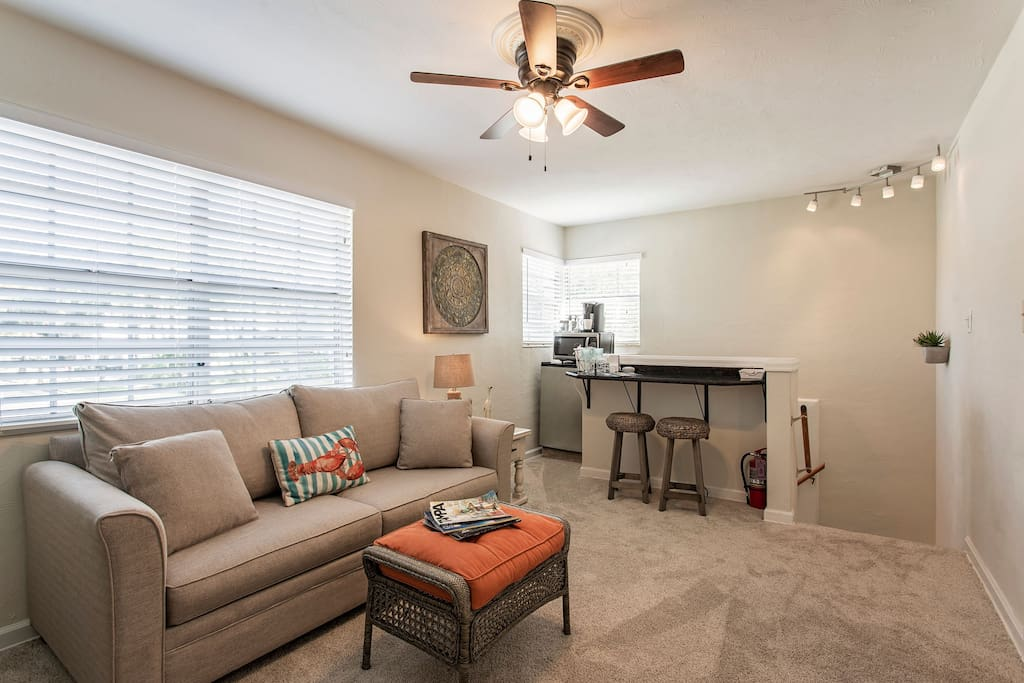 Spacious living area with queen sofa sleeper and breakfast bar offering lots of windows with neighborhood views of historical Hyde Park!