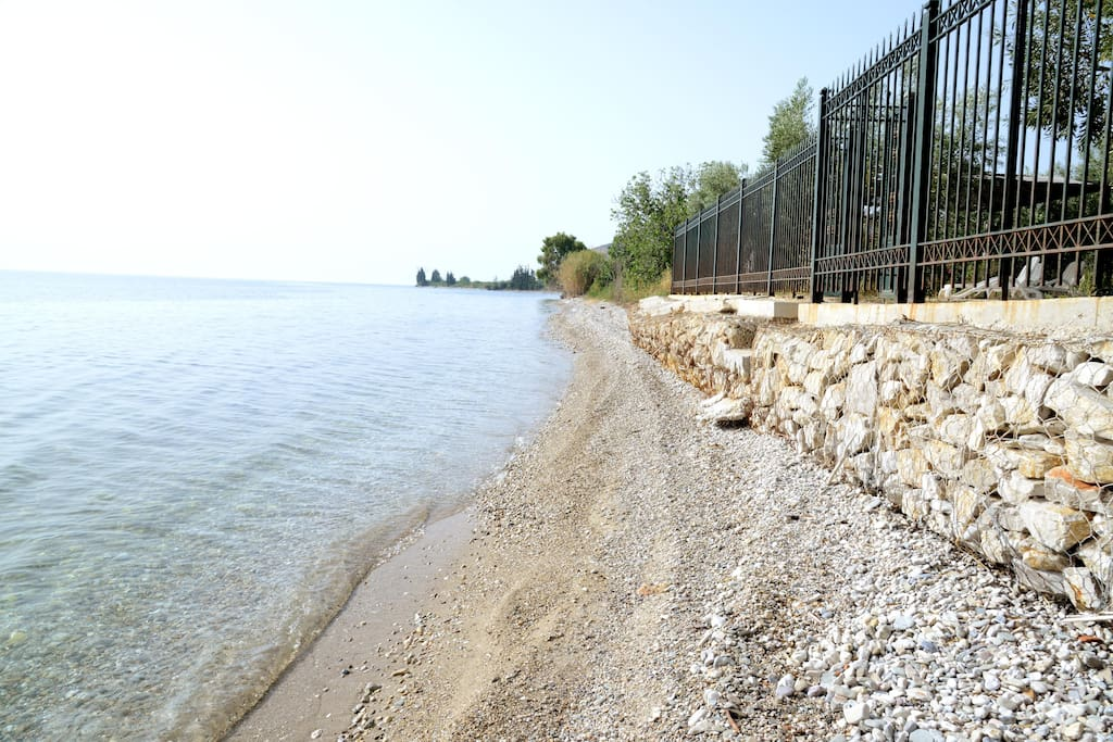 the sea wets the north east boundary of the property