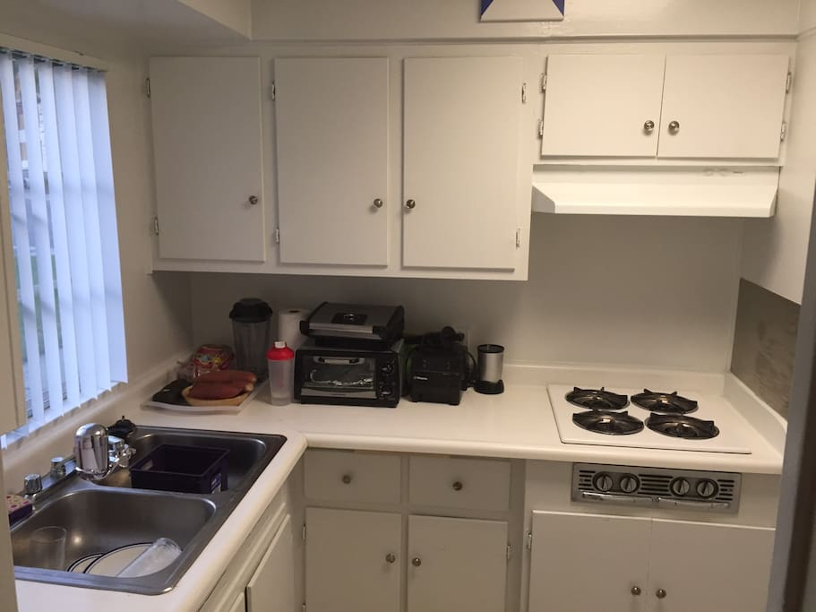 Gas Stove and microwave in the kitchen