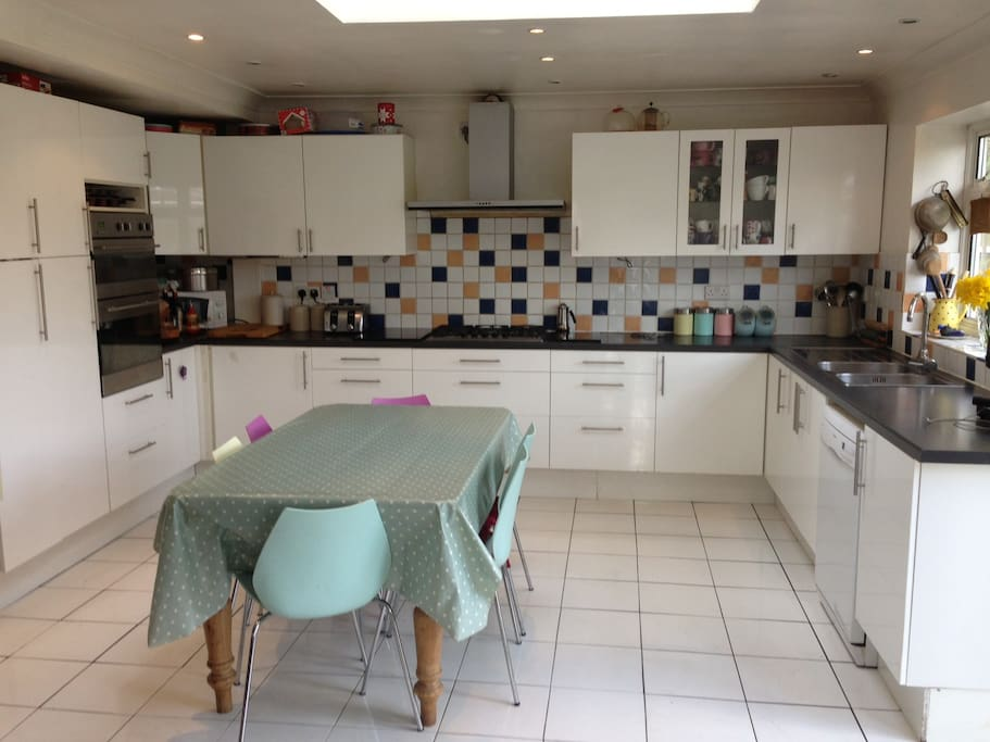 Kitchen with everything you need - dishwasher, washing machine, fridge, oven, hob and microwave