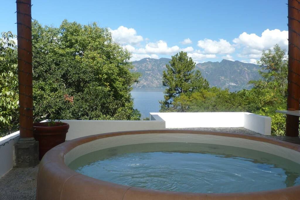 Spa tub. Relax with views of the lake and coffee or cocktails!