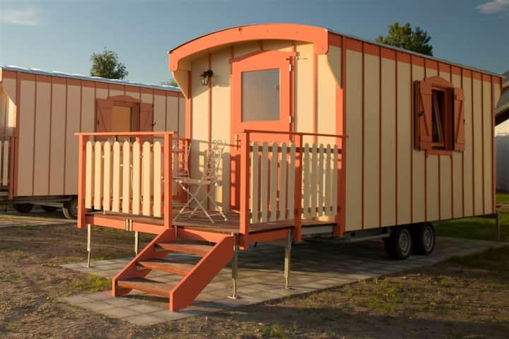 Ferien im Naturwagen Schäferwagen auf Campingplatz