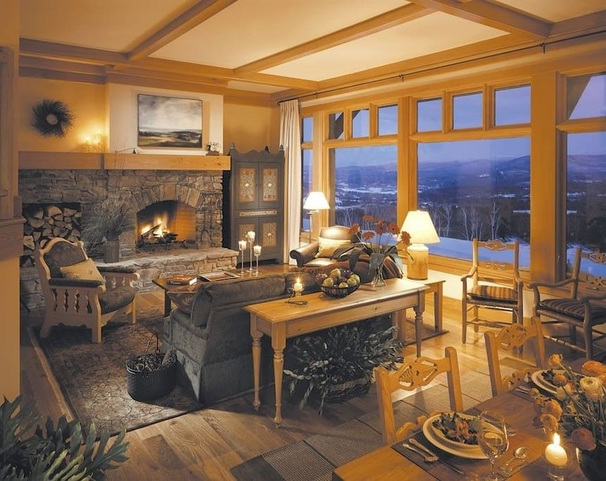 Great room with enormous stone fireplace
