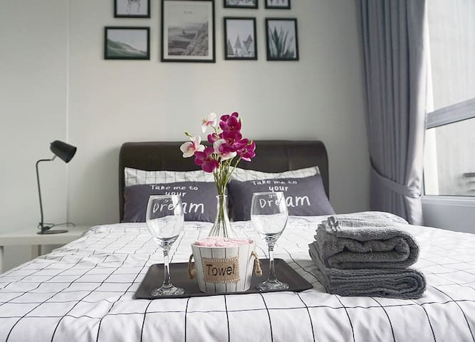 The perfect place to have a rest with our newly bought queen size bed and mattress.