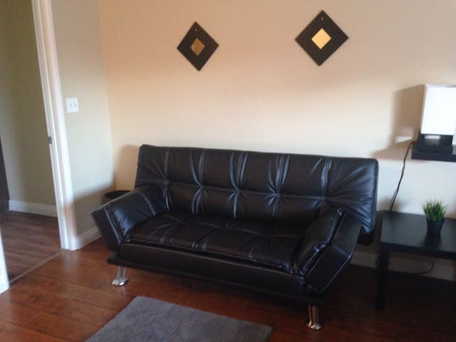 Leather convertible sofa sleeper.