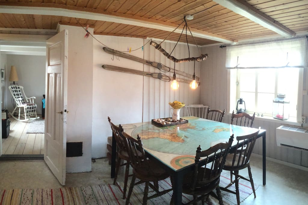 The map room. Good space for eight people to have late supper.