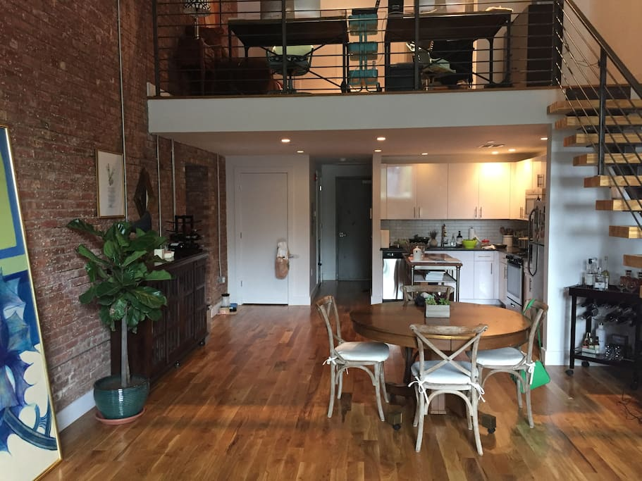 Exposed brick and open layout.