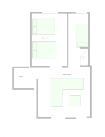 Layout of bedrooms & living room. More pictures to come!
