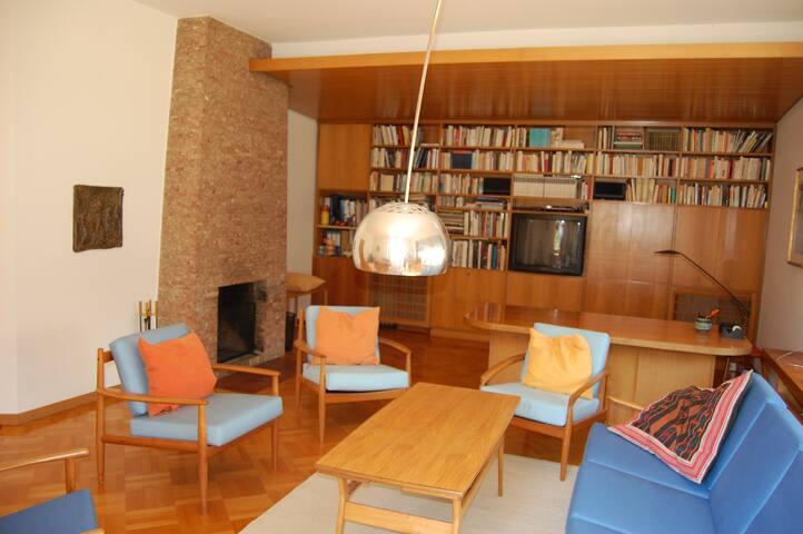 Bibliothek und Fernsehzimmer mit offenem Kamin