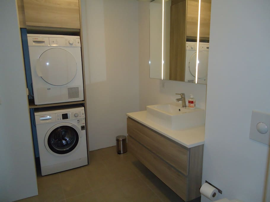 Bath room Washer and Dryer.
