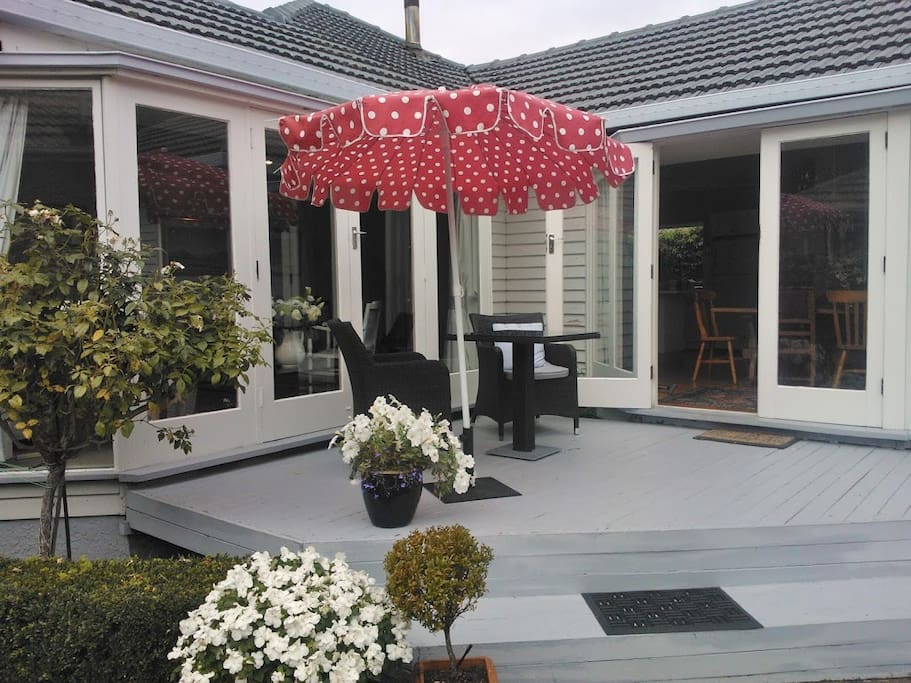 Lovely outdoor area with deck to sit and enjoy
