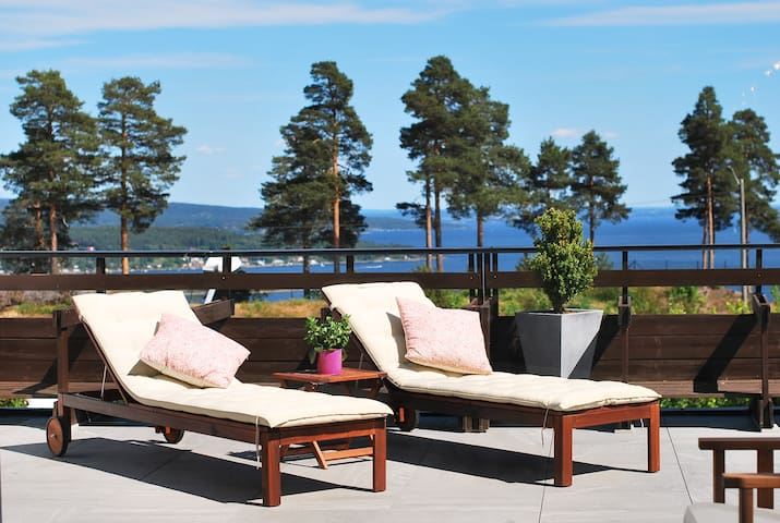 Big modern apartment with sea view over Oslofjord