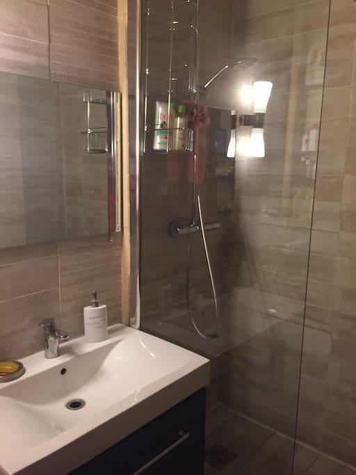 petite salle d'eau avec douche à l'italienne, et lave-linge