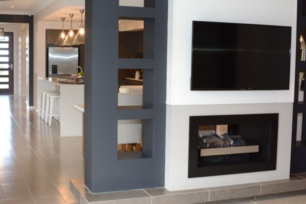 Open living, spacious house. Indoor gas fireplace.