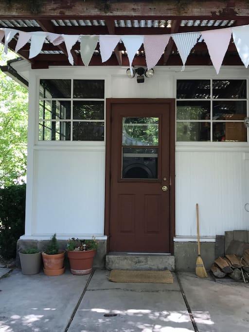 Back door entrance to basement apartment