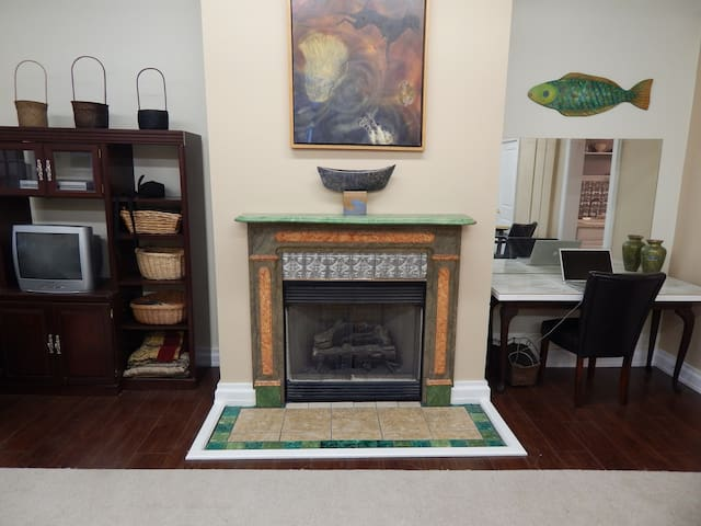 gaslog marblized fireplace