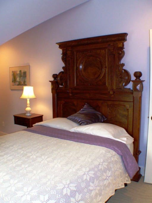 1850 headboard compliments the queen bed