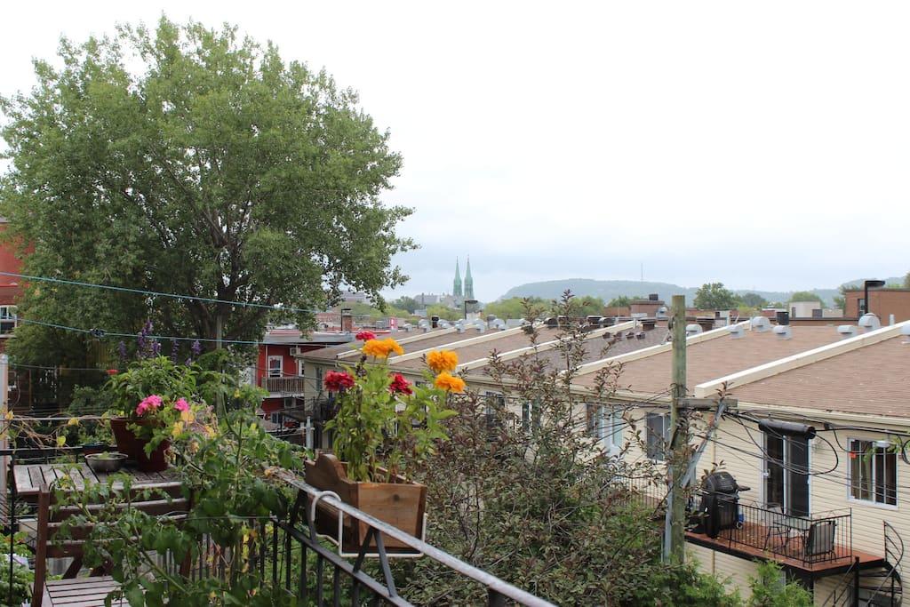 Balcon fleuri et vue dégagée sur le Mont Royal !