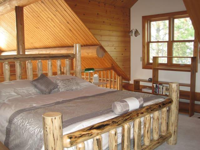 Lower Cabin Master loft and full bath.