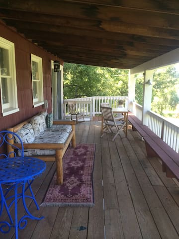 Upper Cabin Deck overlooking the lake and lawns.
