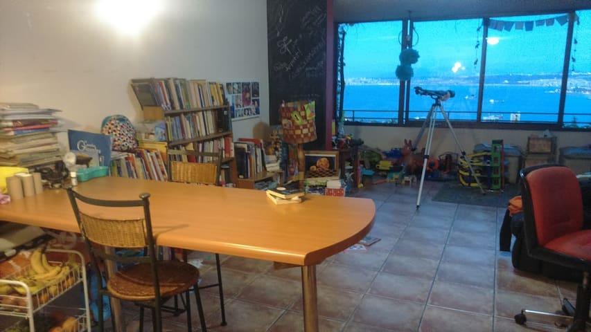 Espacio común. Cocina, mesa, biblioteca. Aquí hay un sillón cama que se puede usar para descansar