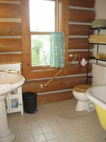 Lower Cabin shared bath- claw foot tub.