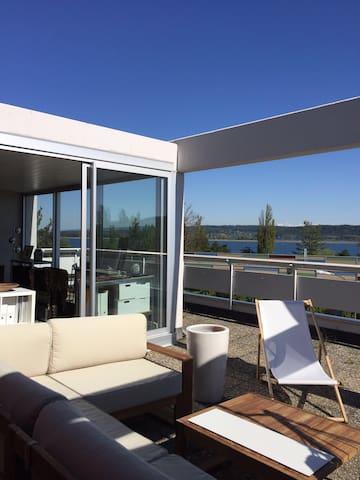 Appartement terrasse vue lac - La Neuveville - Apartemen