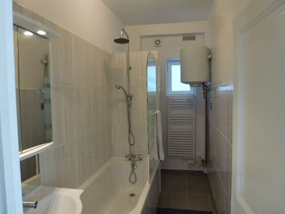 Bathroom with shower and toilet. Renovated 2015