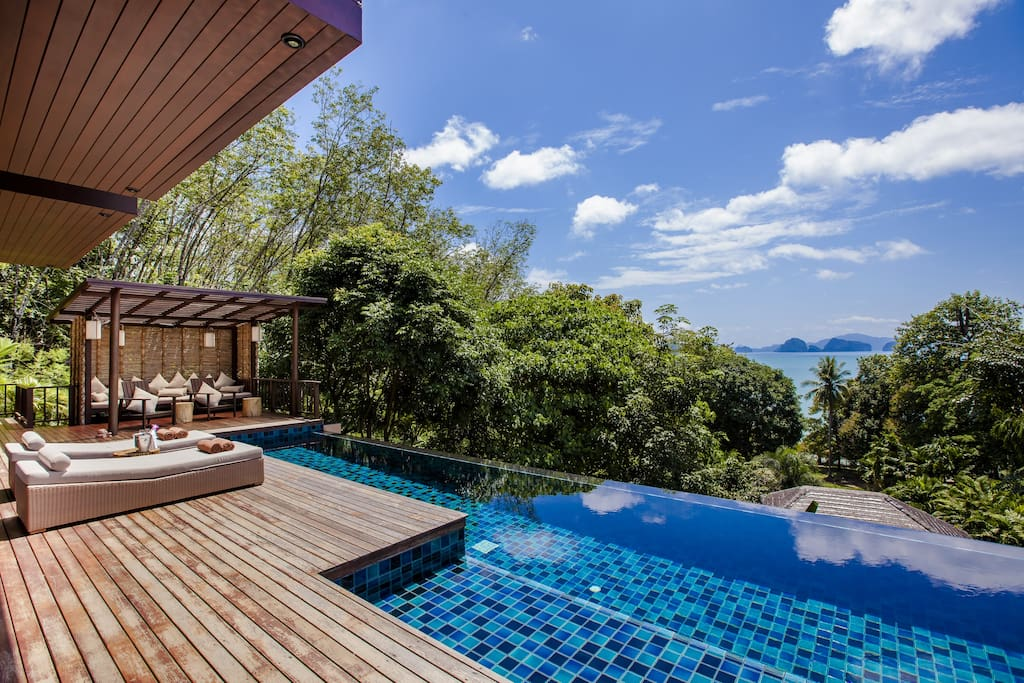 enjoy the view across the private infinity pool from the sundeck