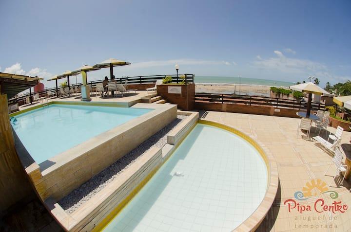 Pipa's Ocean - Flat 2 quartos na Praia do Centro