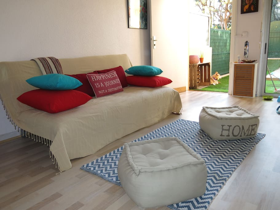 "The new sofabed 2015 + new ""poufs"" as they are called in french!"