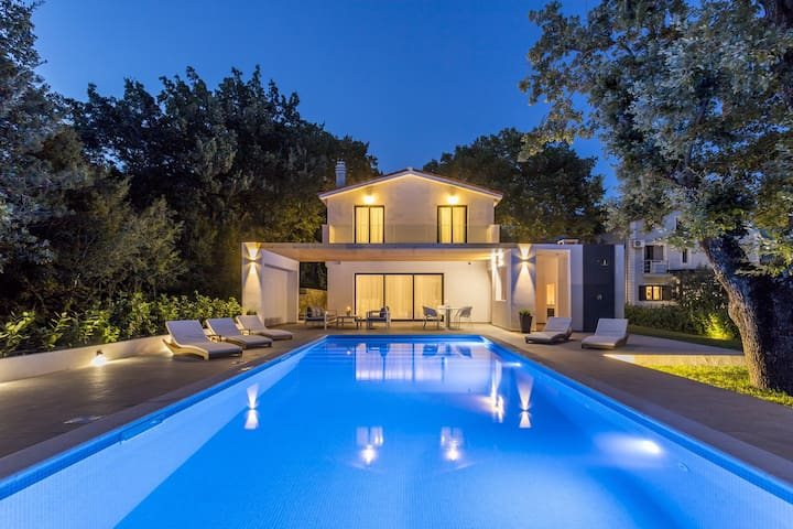 Modern Villa VENTURA with private 45 sqm heated pool, gym, game room