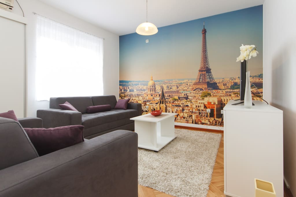 Paris living room with comfortable sofas