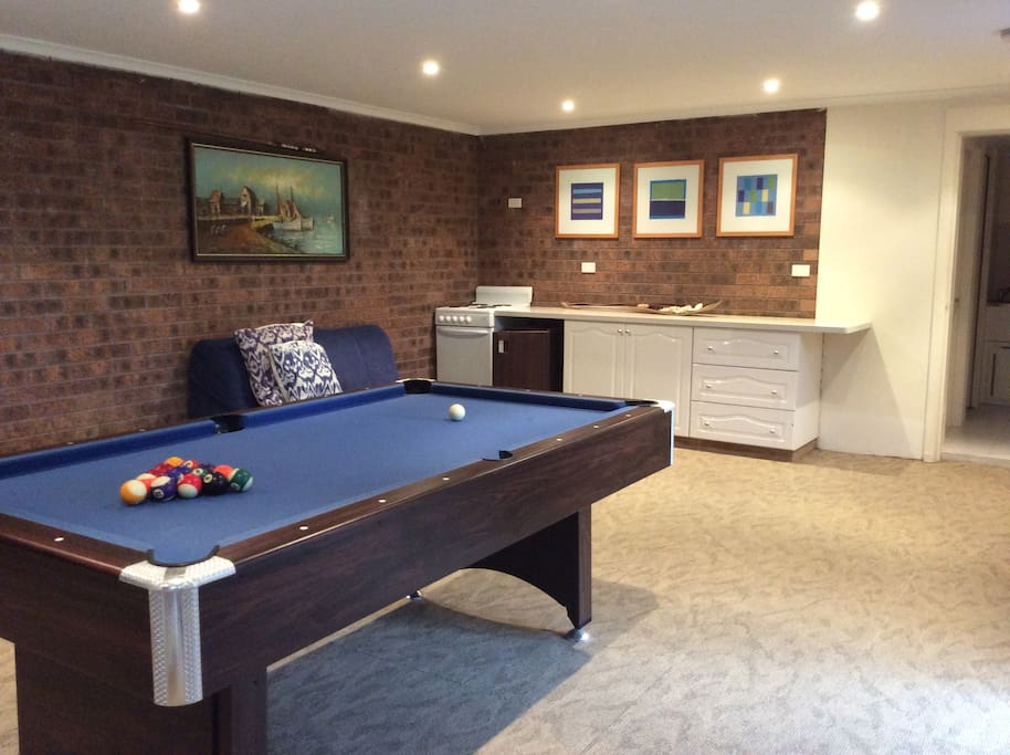 Downstairs kitchenette , pool table