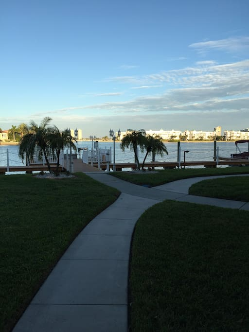 Take a stroll to through the property grounds to our decks at the intercoastal