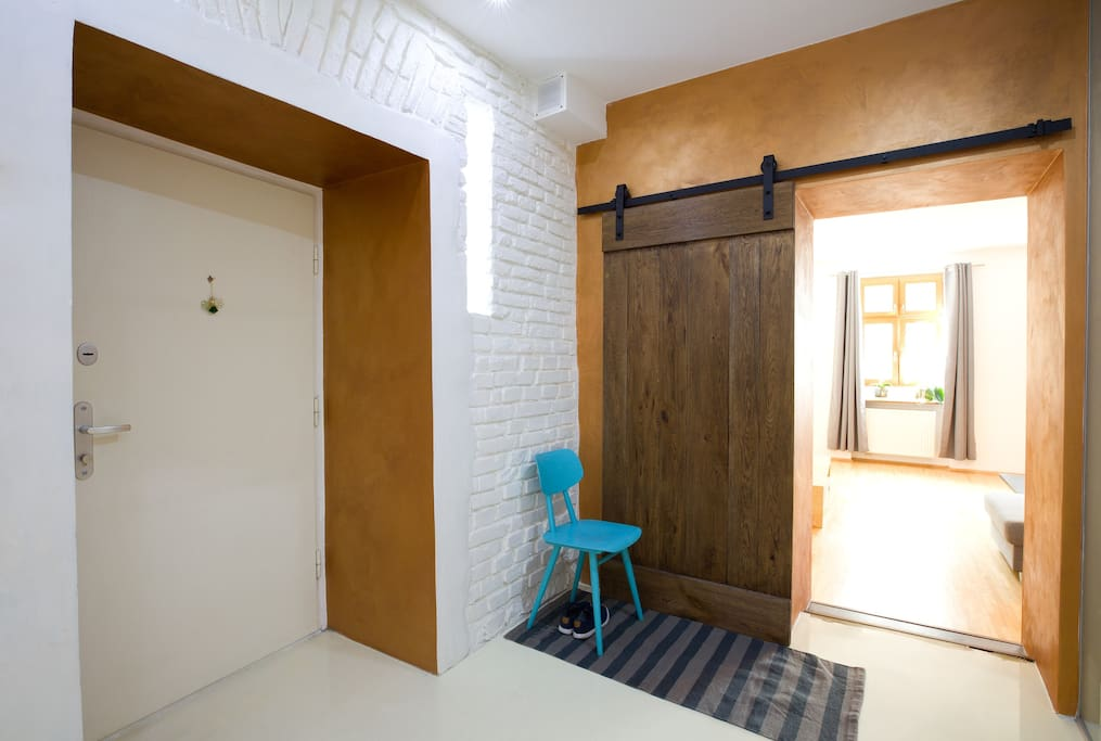 Entrance door and living room barn door