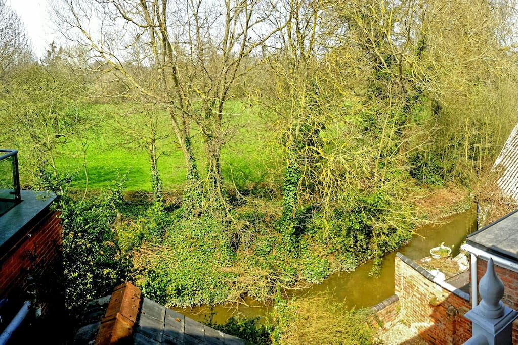 Juliet balcony view over the River Cherwell and the Angel and Greyhound meadow
