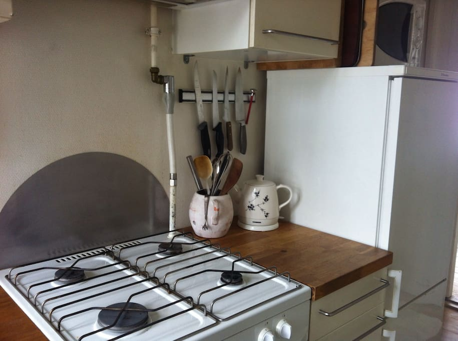 Its a small but functional kitchen
