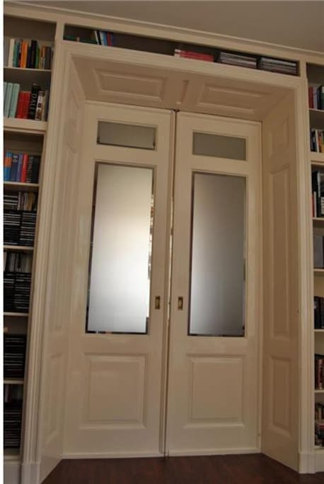 Vintage and original sliding doors with high ceilings