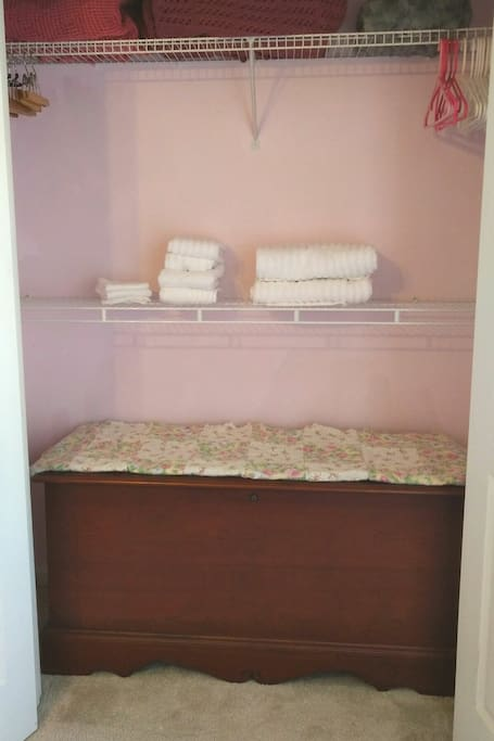Closet with suitcase rest on bench
