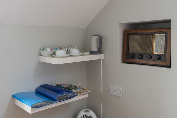 Although you are welcome to use the kitchen there are tea and coffee making facilities in the room plus loads of tourist information.