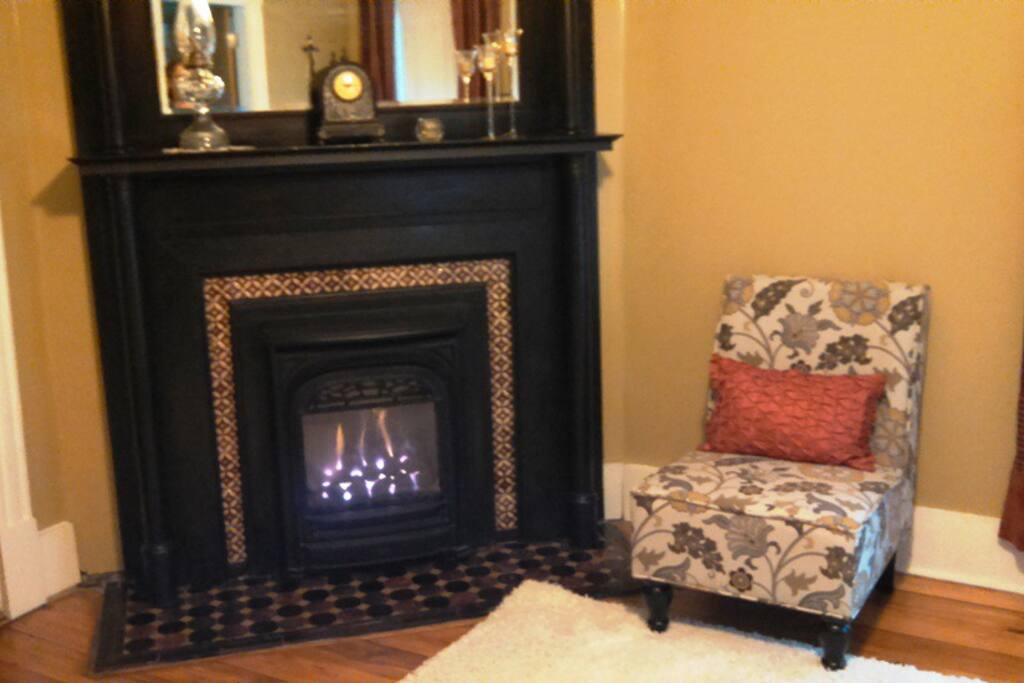 Gas fireplace makes the room warm & cozy on those snowy winter Minnesota nights.