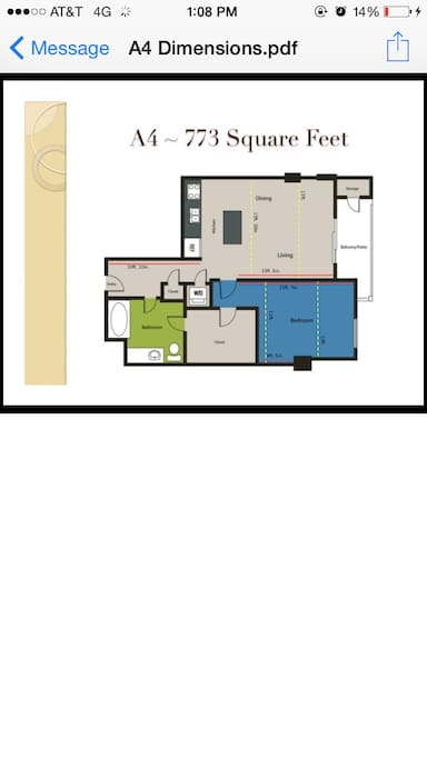 floor plan of the apartment. Check out the closet!